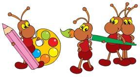 Artistas das formigas (grampo-arte do vetor) Imagem de Stock Royalty Free
