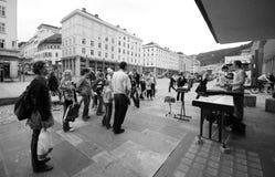 Artistas de la calle en Bergen, Noruega Fotografía de archivo