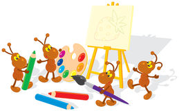Artistas de las hormigas stock de ilustración