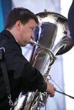 Artistas do desempenho, orquestra, conjunto de bronze do kronwerk dos instrumentos de vento Fotos de Stock