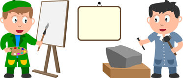 Artistas e bandeira Imagens de Stock