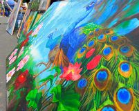 Artistas que pintan en la calle imágenes de archivo libres de regalías