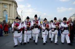 Artistas tradicionais romenos da música Fotos de Stock