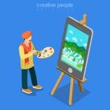 Artiste d'art de Digital au vecteur isométrique plat 3d de technologie de travail Image stock
