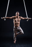 Artiste de cirque sur l'homme aérien de courroies photos stock