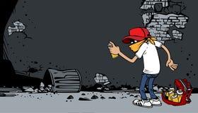 Artiste de graffiti de bande dessinée au travail Photo stock