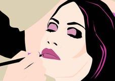 Artiste de maquillage travaillant à une jeune et belle fille illustration stock