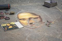 Artiste de rue peignant Mona Lisa à Florence, Italie Photographie stock