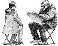 Artiste et modèle illustration de vecteur