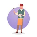 Artiste Hold Paint Brush de Man Icon Male de peintre Image stock