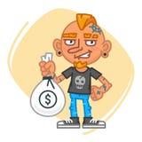 Artiste Holding Big Bag de tatouage d'argent Photos stock