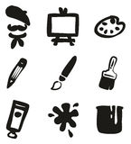 Artiste Icons Freehand Fill Image libre de droits