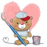 Artiste mignon Teddy Bear de bande dessinée Image libre de droits