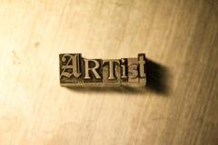 Artiste - signe de lettrage d'impression typographique en métal Image stock
