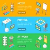 Artiste Workplace Interior avec la vue isométrique d'ensemble horizontal de bannière de meubles Vecteur Photos stock