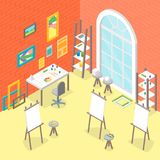 Artiste Workplace Interior avec la vue isométrique de meubles Vecteur Image libre de droits