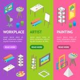 Artiste Workplace Interior avec la vue isométrique réglée de Vecrtical de bannière de meubles Vecteur Image stock