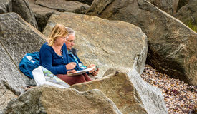 Artistes à la plage image stock