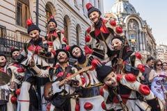 Artistes habillés comme clowns Photographie stock libre de droits