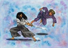 Artistes martiaux féminins de combat (la puissance des arts martiaux, 2014) Photographie stock