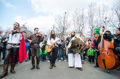 Artistes irlandais exécutant le jour de Patrick de saint Photographie stock libre de droits