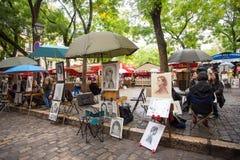 Artisti Montmartre quadrato Parigi Immagini Stock Libere da Diritti