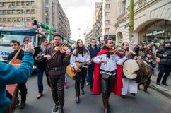Artisti irlandesi che eseguono il giorno di San Patrizio Fotografie Stock