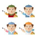 Artisti in un berretto con una tavolozza ed in spazzola ai tempi differenti dell'anno: inverno, molla, estate, autunno illustrazione di stock