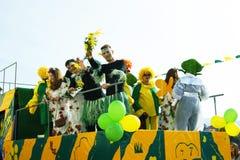 Artisti in vagone di carnevale Fotografia Stock