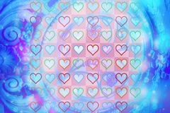 Artistic abstract background. With pretty hearts Stock Photography