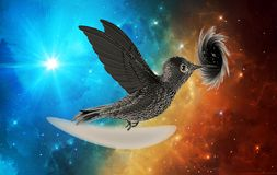 Artistic Abstract Black Bird Flying Into A Black hole In A Colorful Nebula Background vector illustration