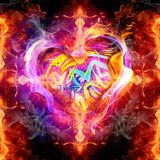 Abstract artistic 3d computer generated illustration of multicolored religious glorifying smoky fiery energetic love cross artwork. Artistic abstract 3d computer royalty free illustration