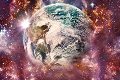 Artistic Abstract Galactic Multicolored Nebula Galaxy Surrounding Earth In An Artistic Way stock illustration