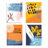Artistic abstract hand drawn cards, invitations. Autumn fall color palette. Brush texture, floral elements. Birthday, party. Stock Photos