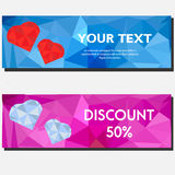 Artistic abstract polygonal horizontal banners with hearts. Background, design templates for gift vouchers, sale, Valentine party Royalty Free Stock Photo