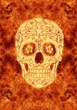 Abstract religious artistic dangerous spooky skull on a fiery artwork as a unique background. Artistic abstract skull background for fashion design, patterns royalty free stock photo