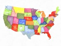 Artistic abstract watercolor political map United States of Amer. Colorful impressionistic watercolor painting of the states of America from East to West New stock illustration