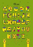 Romantic cipher text. We are good match. Artistic alphabet with encrypted romantic message We are good match. Cartoon yellow letters with bright decor. Funny Royalty Free Stock Photo