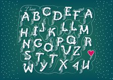 Romantic cipher text. I have totally fallen 4 U. Artistic alphabet with encrypted romantic message I have totally fallen for you. White letters with graceful Stock Photo