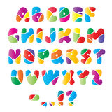 Artistic alphabet font with stripes. Artistic alphabet font. Each letter divided by white stripes into several colorful parts, isolated Stock Images