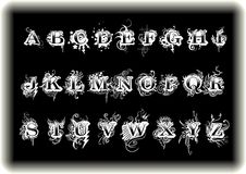 Artistic Alphabets. Is Action and Fun style, Black&White English alphabets Stock Photo