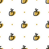 Artistic apple seamless pattern, Trendy fashion fruit abstract repeating background. Hand-drawn Apples, polka gold dot background. Ultra modern artistic style royalty free illustration