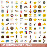 100 artistic award icons set, flat style Stock Photos