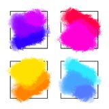 Artistic backdrops, vector with brush strokes and square frames for banners, brush paint look small backgrounds with. Colorful hand painted stains and copy Royalty Free Stock Photo