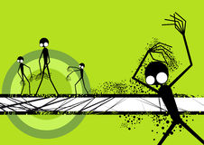 Artistic background. An illustrated view of abstract figures with large eyes dancing on a greenish background Stock Photo