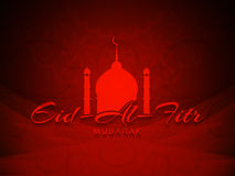 Artistic background with beautiful text design of Eid Al Fitr Mubarak. Artistic religious red color background with beautiful text design of Eid Al Fitr Mubarak Royalty Free Stock Photography