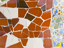 Artistic background of broken tiles. Trenkadis is an artistic technique invented by the modernist Catalan architect, Antonio Gaudi. Barcelona, Catalonia, Spain Royalty Free Stock Photography