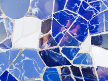 Artistic background of broken tiles. Trenkadis is an artistic technique invented by the modernist Catalan architect, Antonio Gaudi. Barcelona, Catalonia, Spain Stock Photo