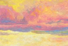 Artistic background. Colorful air clouds. Hand drawn artistic background. Colorful air clouds lit by the sun at sunset. Oil painting Royalty Free Stock Photo