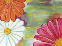 Artistic background with gerbera flowers. Gouache painting Stock Photos